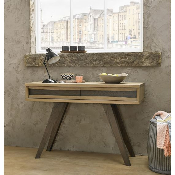 Cadell Aged & Weathered Oak Console Table with Drawers - Cadell Furniture