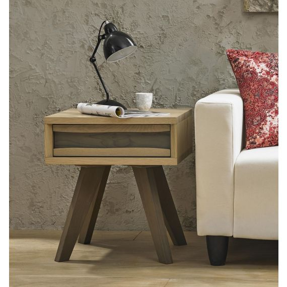 Cadell Aged & Weathered Oak Lamp Table with Drawer - Cadell Furniture