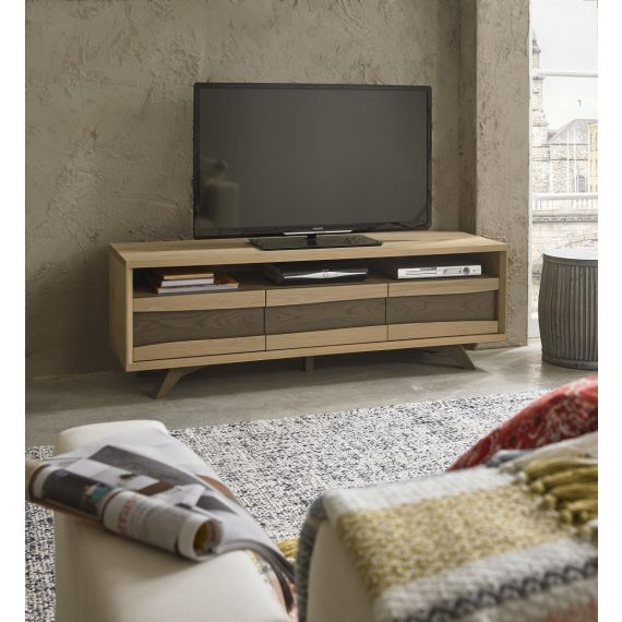Cadell Aged & Weathered Oak Large TV Unit - Cadell Furniture