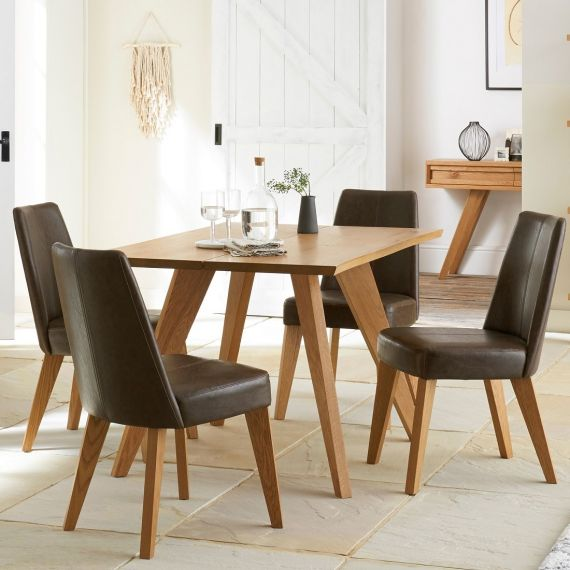 Cadell Rustic Oak 4 Seater Fixed Top Dining Table - Cadell Furniture