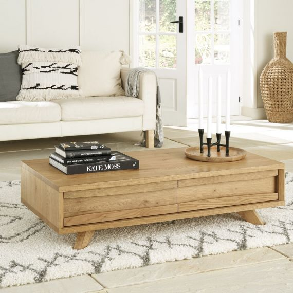 Cadell Rustic Oak Coffee Table with Drawers - Cadell Furniture