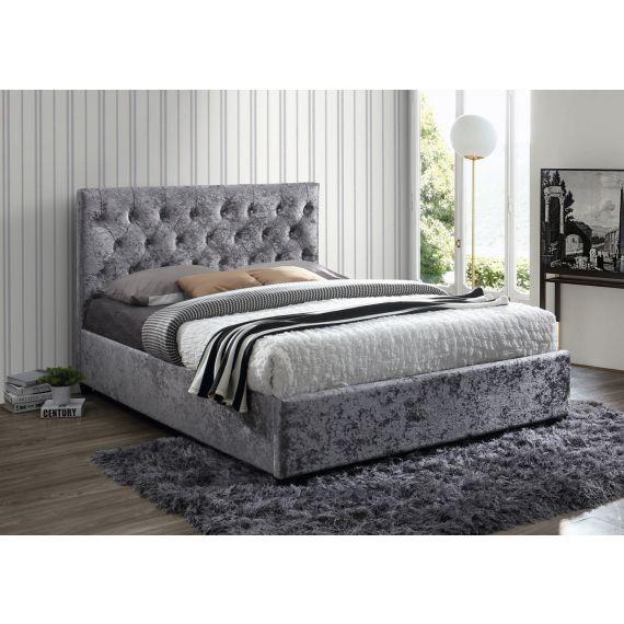 Cologne Steel Crushed Velvet Bed