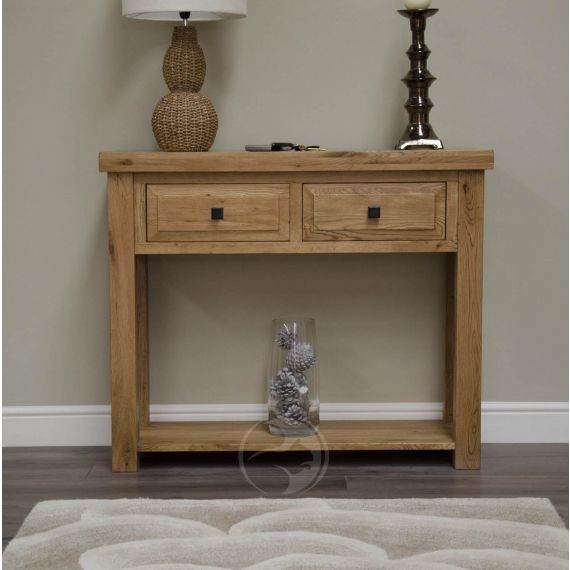 Coniston Rustic Solid Oak Hall Console Table