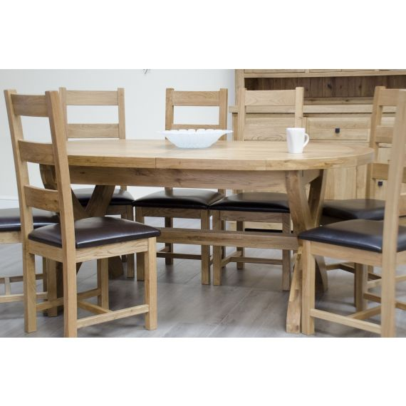 Coniston Rustic Solid Oak Oval X Leg Extending Dining Table