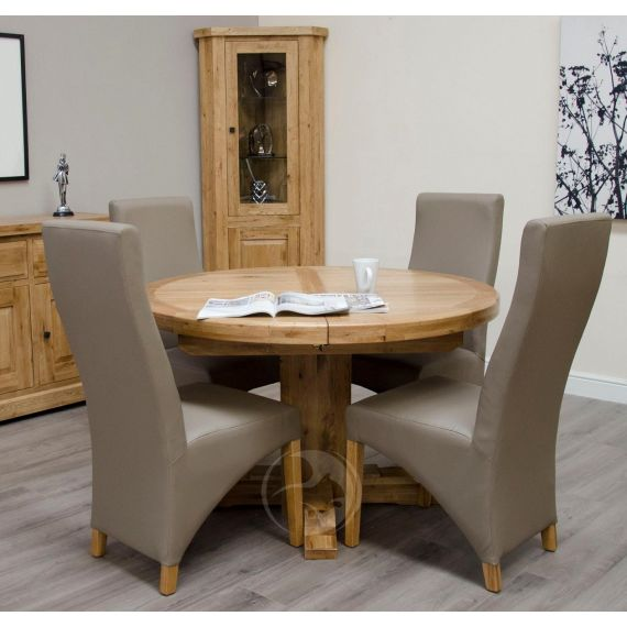 Coniston Rustic Solid Oak Round Extending Dining Table
