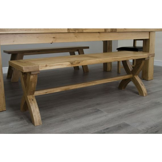 Coniston Rustic Solid Oak X Leg Dining Bench