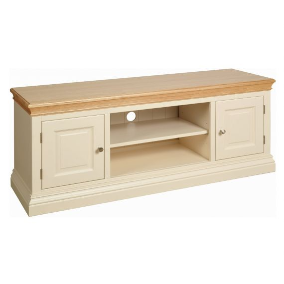Country Oak and Painted Large TV Cabinet
