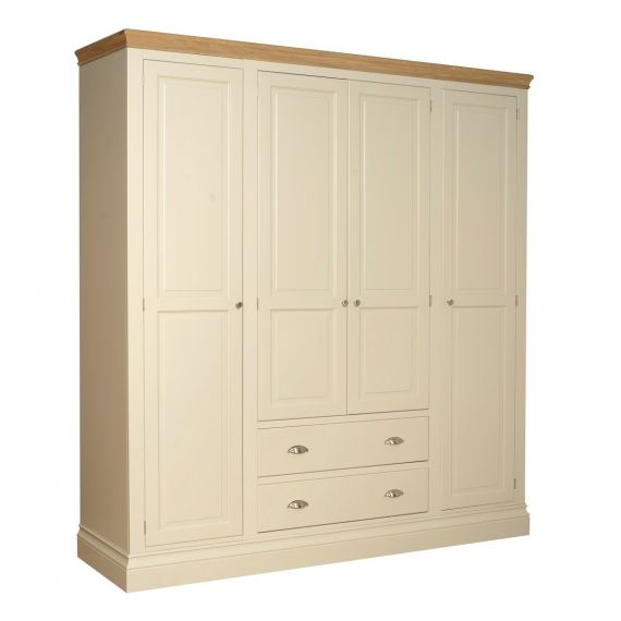 Country Oak and Painted Quad Wardrobe with Drawers