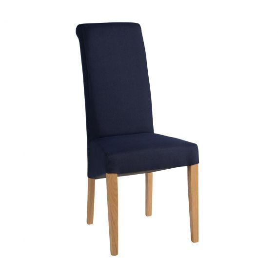 Dark Blue Fabric Dining Chair