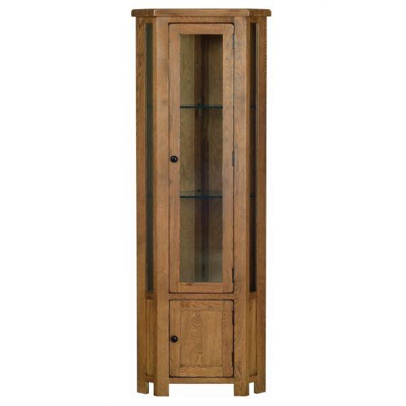 Edinburgh Rustic Oak Corner Display Cabinet