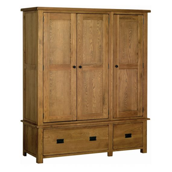 Edinburgh Rustic Oak Triple Wardrobe with Drawers