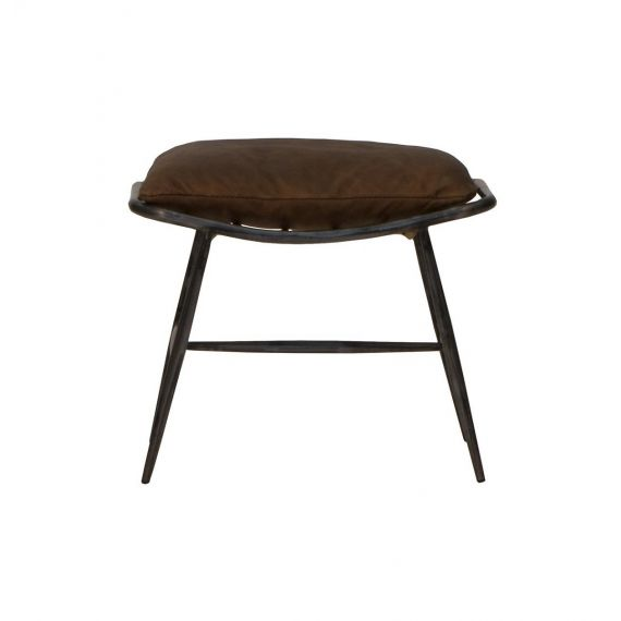 Ely Brown leather Footstool