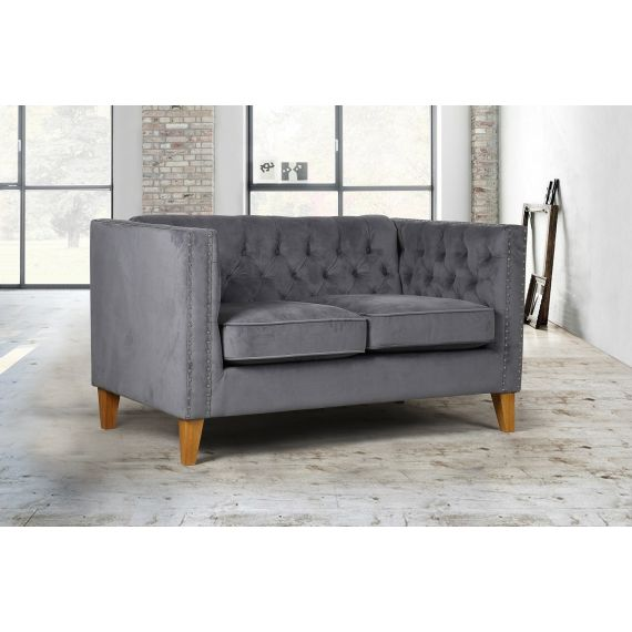Florence Grey Velvet 2 Seater Sofa