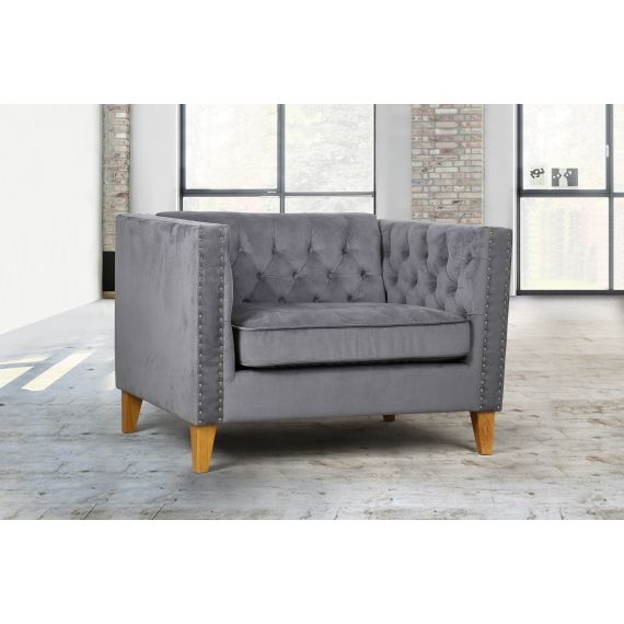Florence Grey Velvet Snuggle Chair