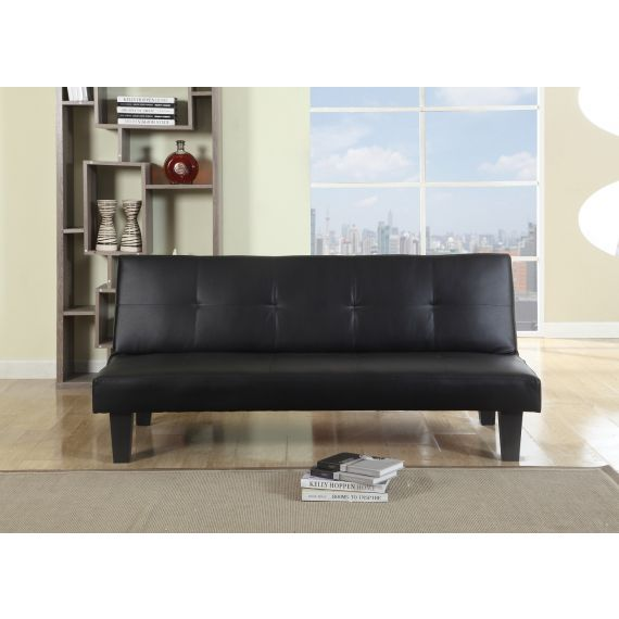 Franklin 3 Seater Leather Sofa Bed - Black