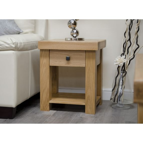 French Bordeaux Oak Lamp Table with Drawer