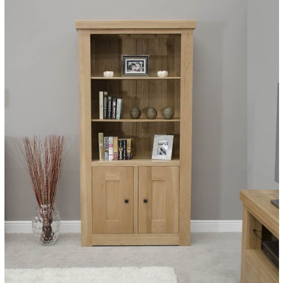 French Bordeaux Oak Tall 2 Door Bookcase