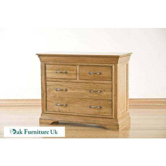 French Style Solid American White Oak 4 Drawer Chest