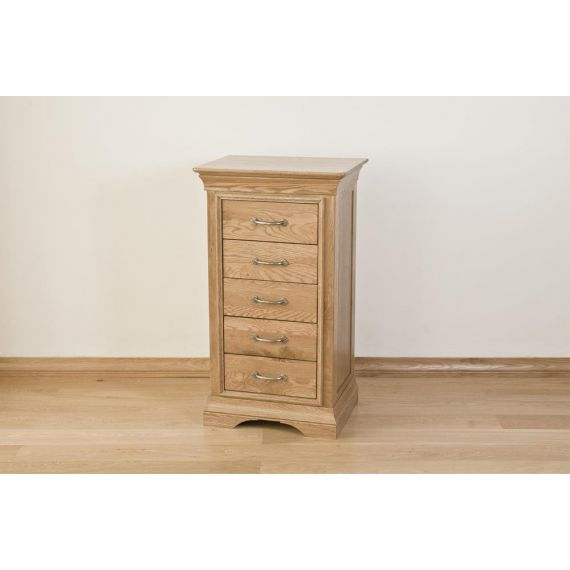French Style Solid American White Oak 5 Drawer Tallboy
