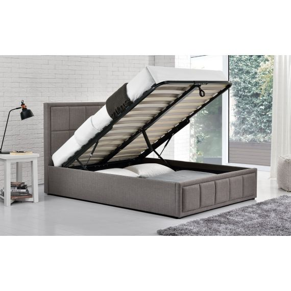 Hannover Grey Fabric Ottoman Bed