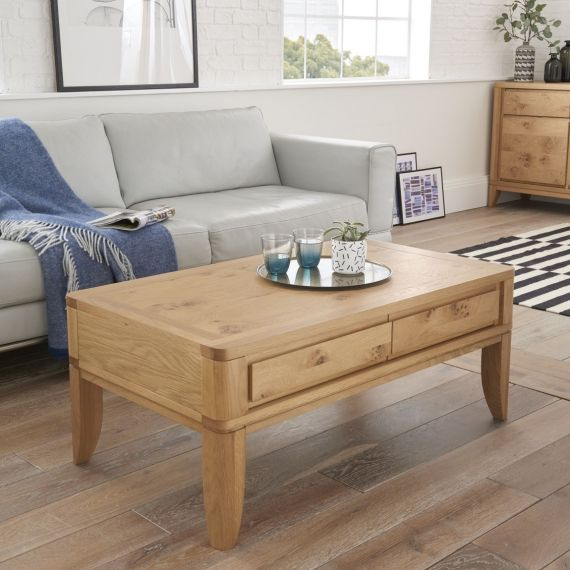 High Park Pippy Oak 2 Drawer Coffee Table - High Park Furniture