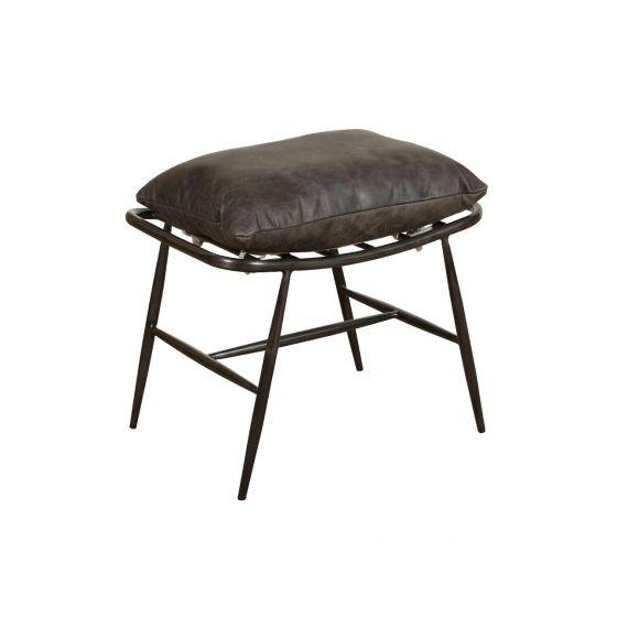 Huntingdon Grey Leather Ely Footstool