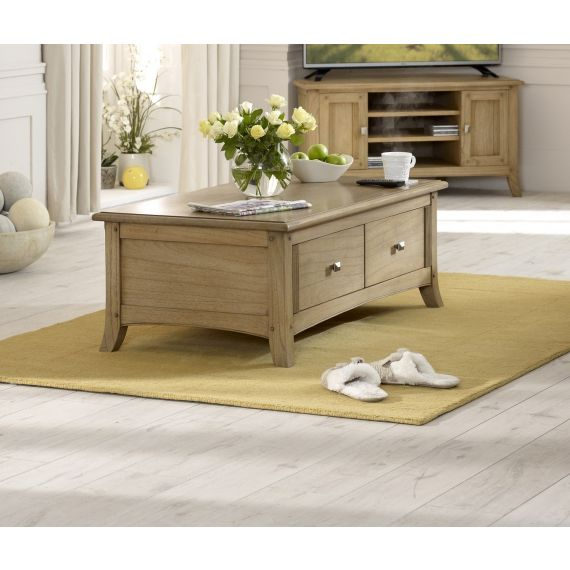 Lincoln Ash Large Coffee Table with Drawers