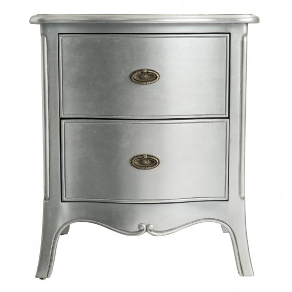 Louis French Silver Leaf 2 Drawer Bedside Chest