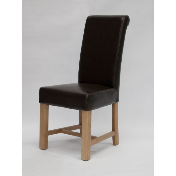 Louisa Brown Leather Scroll Top Dining Chair