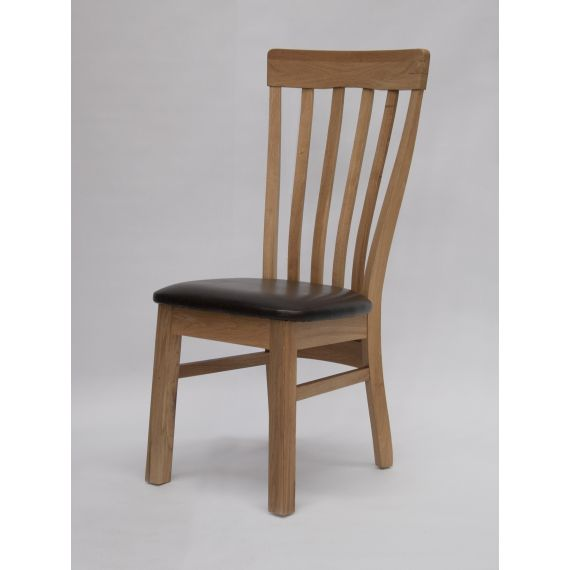 Lucia Solid Oak Dining Chair with Brown Seat Pad
