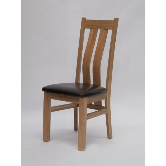 Maria Solid Oak Dining Chair with Brown Seat Pad