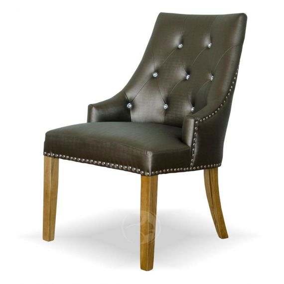 Marjukka Tungsten Fabric Chair with Crystal Buttons
