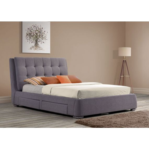 Mayfair Grey Fabric Bed with 4 Drawers