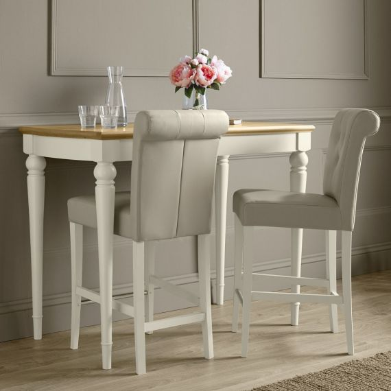 Montreux Antique White Painted Bar Stool - Ivory Leather - Montreux Furniture
