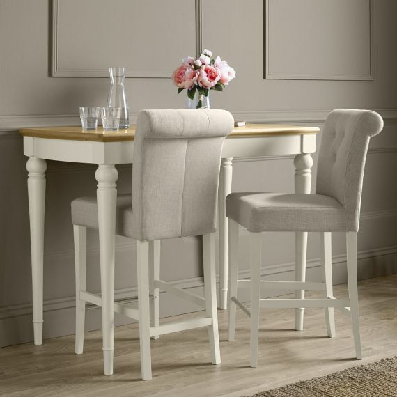 Montreux Antique White Painted Bar Stool - Sand Fabric - Montreux Furniture