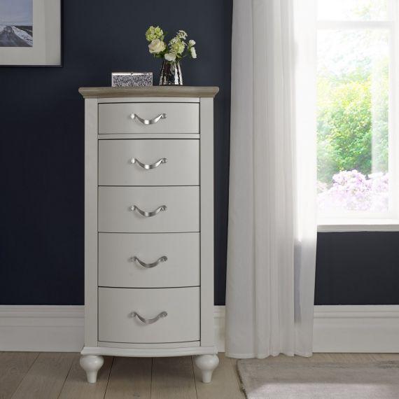 Montreux Grey Washed Oak & Soft Grey Painted 5 Drawer Tallboy - Montreux Furniture