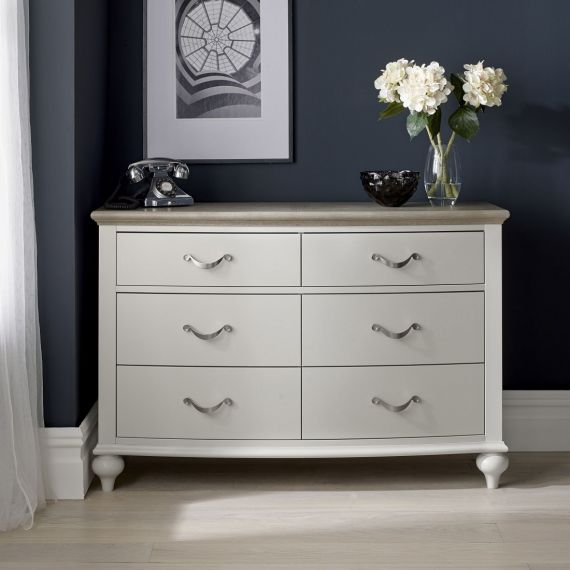 Montreux Grey Washed Oak & Soft Grey Painted 6 Drawer Wide Chest - Montreux Furniture