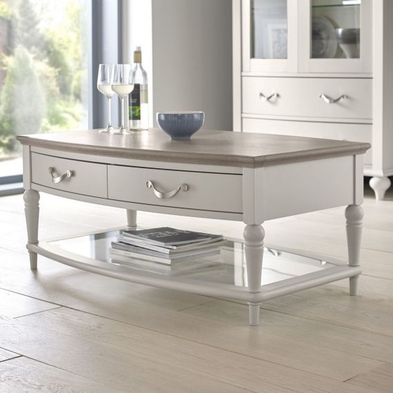 Montreux Grey Washed Oak & Soft Grey Painted Coffee Table with Drawers - Montreux Furniture