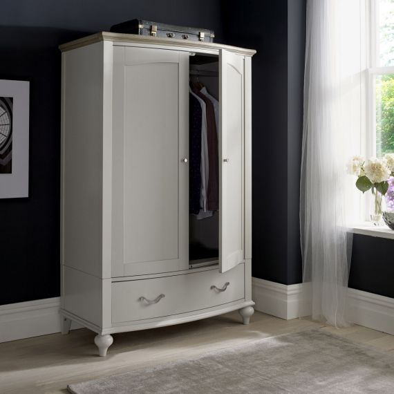 Montreux Grey Washed Oak & Soft Grey Painted Double Wardrobe - Montreux Furniture