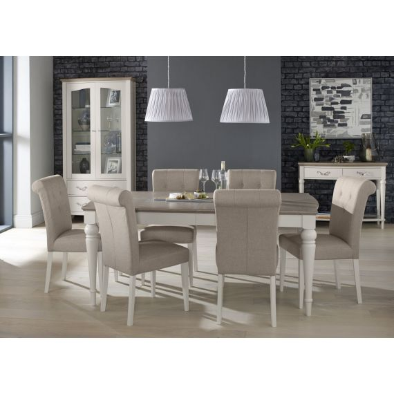 Montreux Grey Washed Oak & Soft Grey Painted Large Extending Dining Table - Montreux Furniture