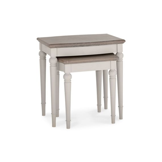 Montreux Grey Washed Oak & Soft Grey Painted Nest of Tables - Montreux Furniture