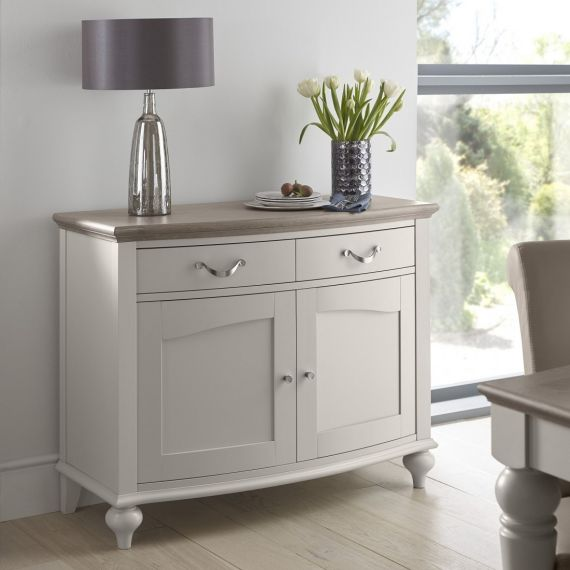 Montreux Grey Washed Oak & Soft Grey Painted Small Sideboard - Montreux Furniture
