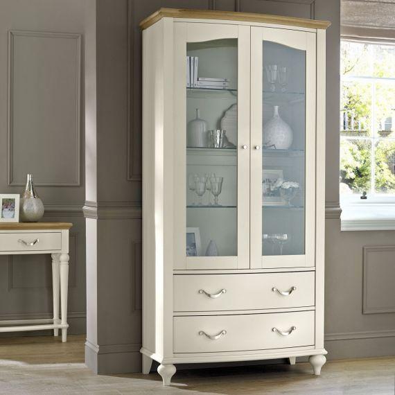 Montreux Grey Washed Oak & Soft Grey Painted Display Cabinet - Montreux Furniture
