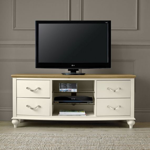 Montreux Oak & Antique White Painted TV Unit - Montreux Furniture