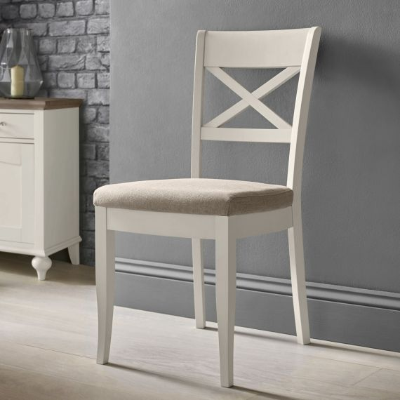 Montreux Soft Grey Painted Cross Back Dining Chair - Pebble Grey Fabric - Montreux Furniture