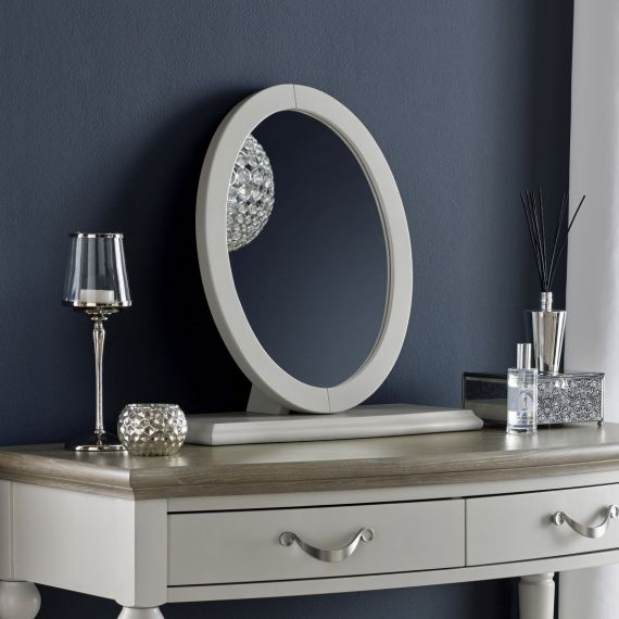 Montreux Soft Grey Painted Oval Dressing Table Mirror - Montreux Furniture