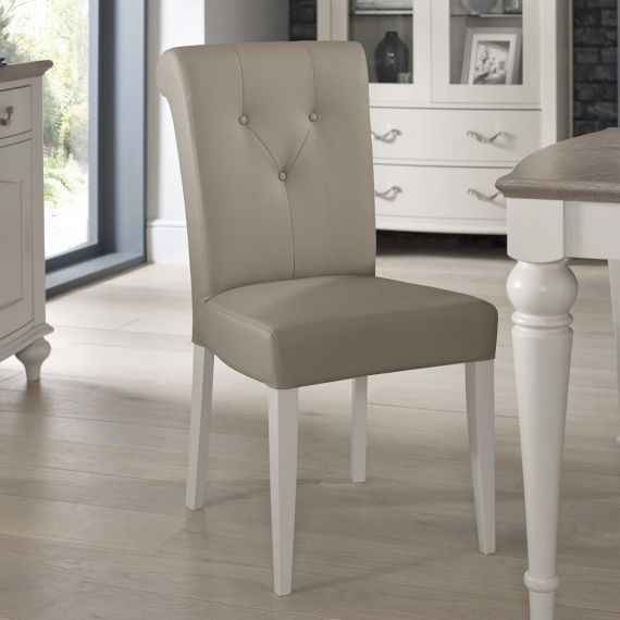 Montreux Soft Grey Painted Upholstered Dining Chair - Grey Bonded Leather - Montreux Furniture