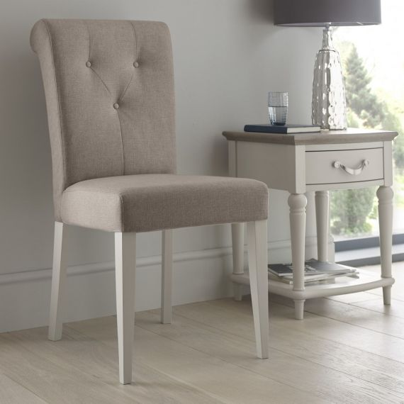 Montreux Soft Grey Painted Upholstered Dining Chair - Pebble Grey Fabric - Montreux Furniture