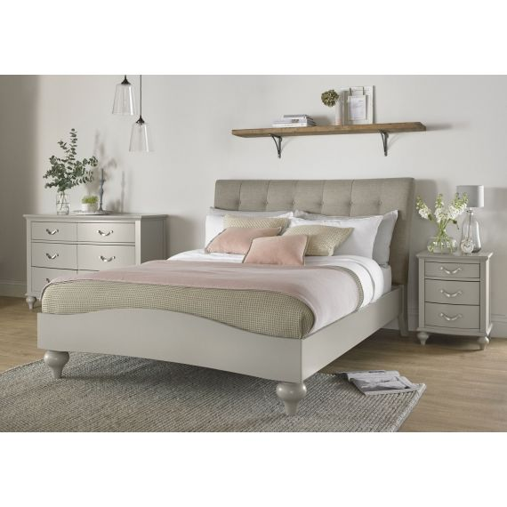 Montreux Urban Grey Painted Upholstered Vertical Stitch King Size Bed - Montreux Furniture