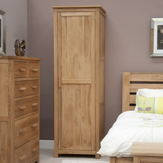 Opus Solid Oak 1 Door Single Wardrobe